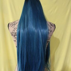 Accessories - LONG 32 inch turquoise synthetic lace front wig